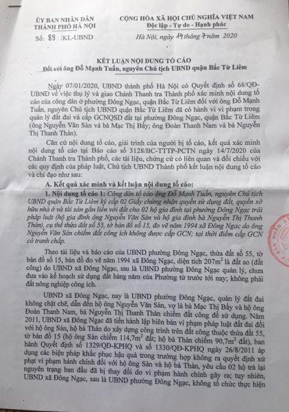 Giao Chủ tịch UBND quận Bắc Từ Liêm kiểm tra, giải quyết